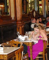 Girl Reading in Cafe Majestic