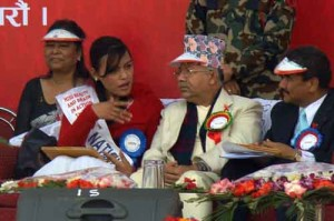 Sandhya Tamang, the transgender Beauty Queen of 2008, posing with Madhav Kumar Nepal, Hon'ble Prime Minister of Nepal on World AIDS Day 2009
