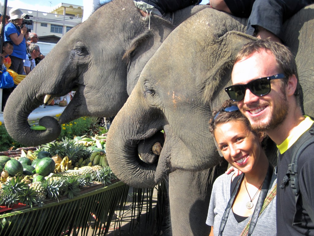 Becca and Nate at Surin Elephant Festival in Thailand. Photo: Becca