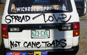 Wicked Campers typical graffiti