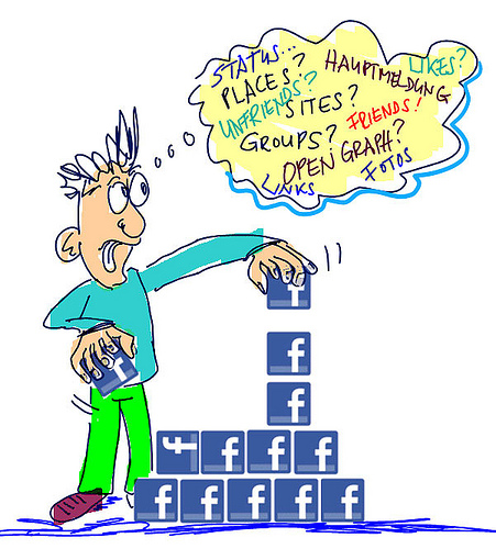 Cartoon of a man playing with building blocks with the Facebook logo.