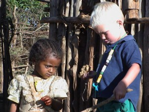 Playing with an Ethiopian child