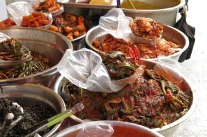 Kimchi bowls at the traditional market