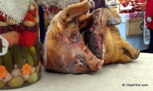 Smoked pig heads