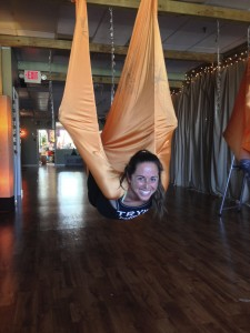 Flying in anti-gravity yoga in Long Beach, NY