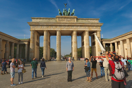 Standing in front of the Brandenberg Gate i n Berlin, September 2014