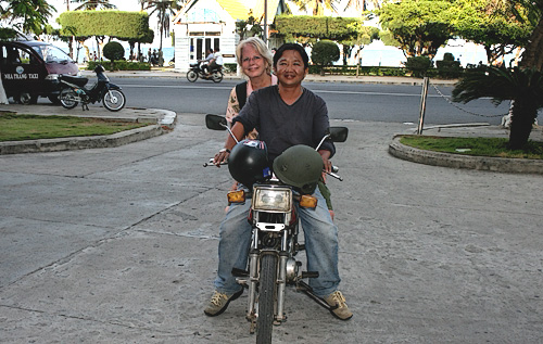 "Hiring an ""Easy Rider"" motorcycle to see Nha Trang, Vietnam in March, 2007"