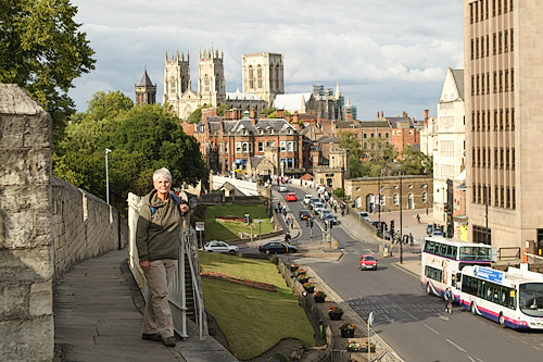 Barbara Weibel on a day hike atop the old city walls in York, England