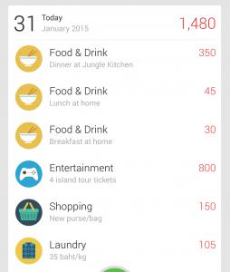 Example day of spending in Thai baht.