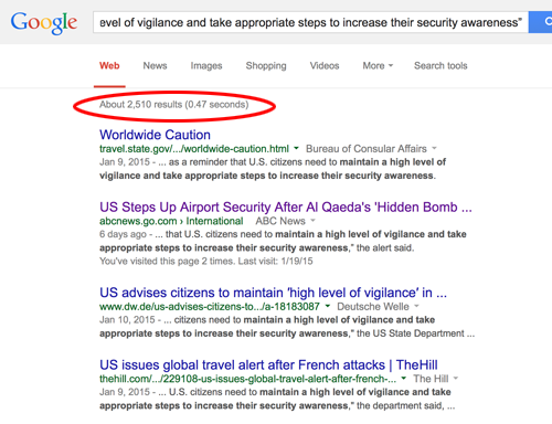 Google search for State Department travel warning