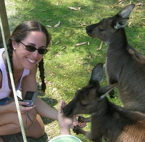 feeding the kangaroos-Healesville Sanctuary, Melbourne