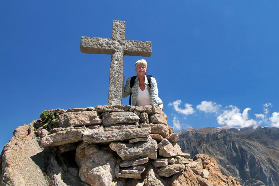 Barbara Weibel, solo female traveler, at Colca Canyon, Peru