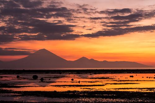 View of the volcano Rinjani from Gili Trawangan.