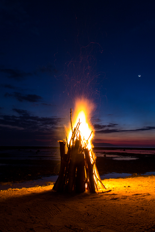 Bon fires at sunset.